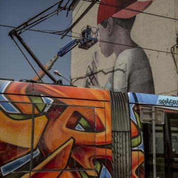 8 juin 2017 Fresque en cours Passage du tram A du GSAF Photo : Andrea Berlese
