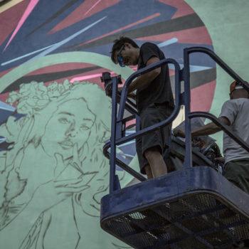12 juin 2017 Fresque en cours d'A'Shop Photo : Andrea Berlese