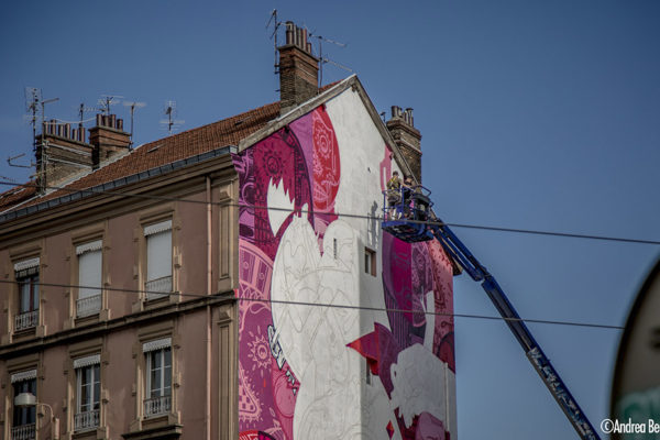 15 juin 2017 Fresque en cours  Photo : Andrea Berlese