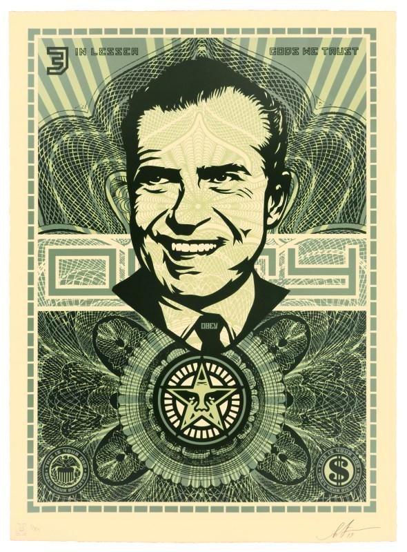 Nixon lesser gods we trust   Shepard Fairey